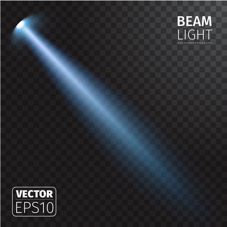 Vector illustratie van realistische bundel licht op transparante achtergrond. Vector Illustratie