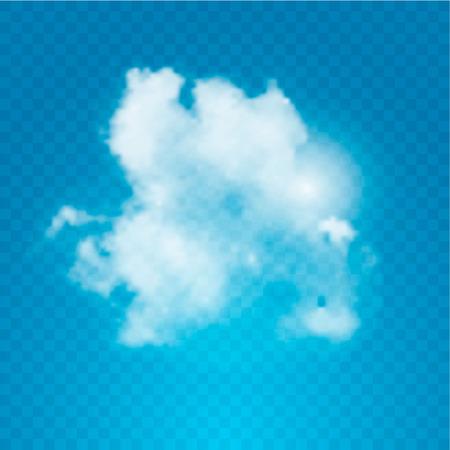 Realistic cloud on transparent background. Vector illustration