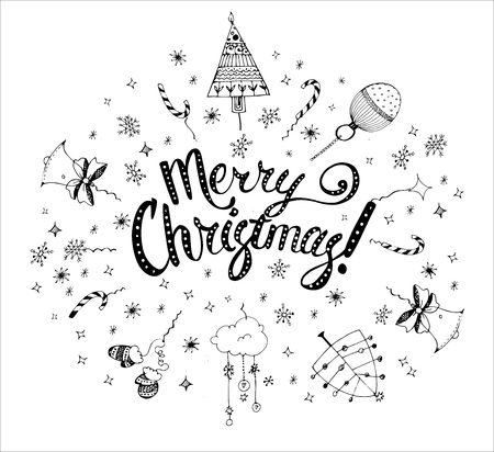christmas postcard: Christmas postcard template with doodles. Hand drawn text. Vector illustration.