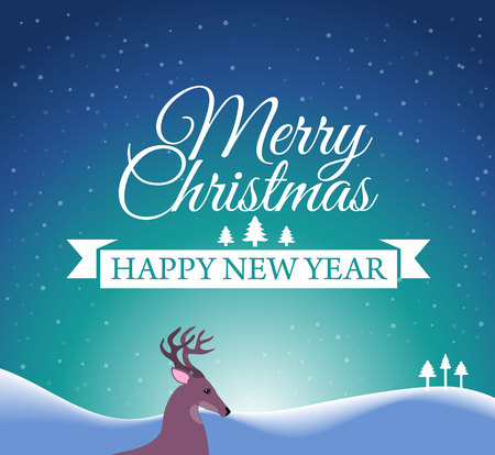 snow white: Merry Christmas and Happy New Year post Card with designed text. Vector illustration. Illustration