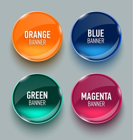 glass button: Set of glass banners for your design. Vector illustration.
