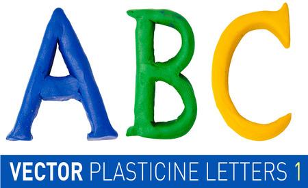 plasticine: Set of plasticine letters of english alphabet. Vector illustration