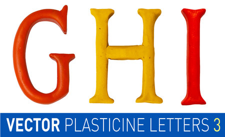 monotype: Set of plasticine letters of english alphabet.