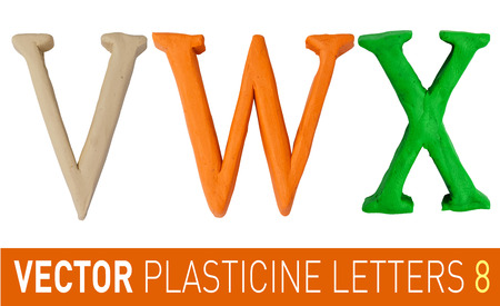 Set of plasticine letters of english alphabet.