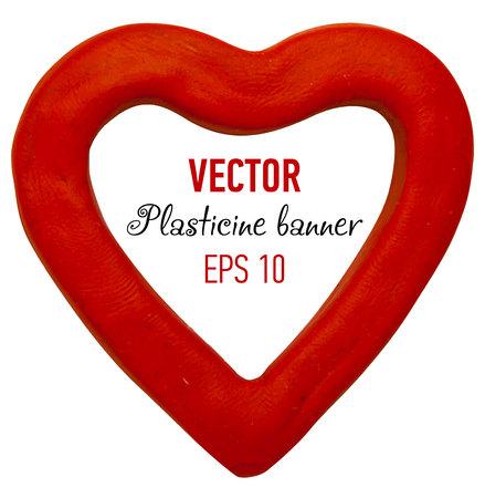 plasticine: Plasticine banner in heart form for your design. Vector illustration.