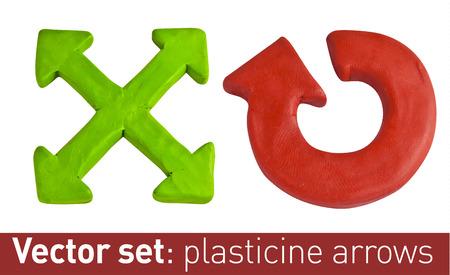 Set of plasticine arrows for your design. Vector illustration.