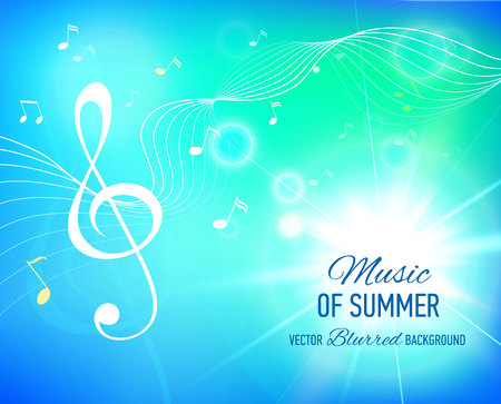 Vector bkue background with music notes and key. Flare. Banner. Designed text.