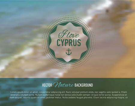 webdesign template: Nature seaside blurred background with design text. Cyprus island. Web-design template. Landing site. Banner. Vector illustration