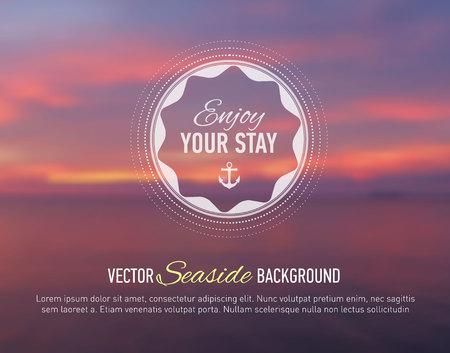 webdesign template: Nature seaside blurred background with design text. Web-design template. Site. Banner. Vector illustration.