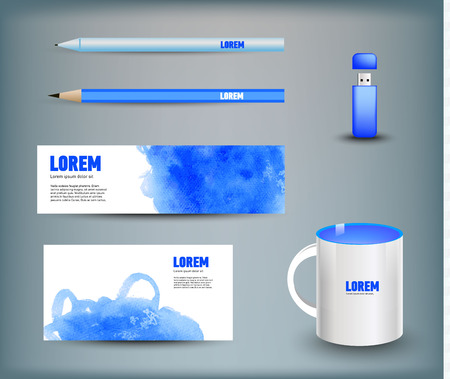 usb disk: Corporate identity templates disk, pen, pencil, cup, usb flash driver. Isolated with soft shadows. Vector illustration