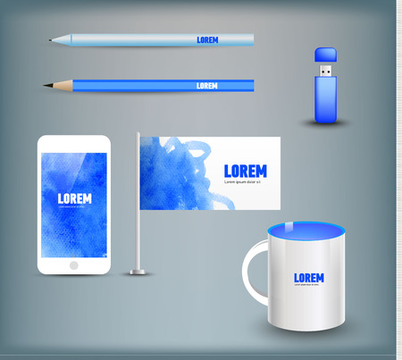 marca libros: Corporate identity templates disk, pen, pencil, cup, usb flash driver. Isolated with soft shadows. Vector illustration