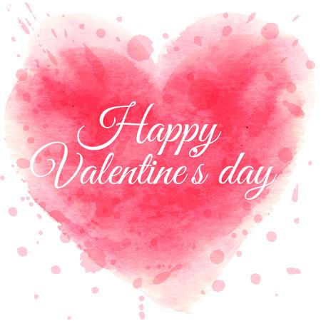 手で聖バレンタインの s 日のポストカードには、水彩心とテキストが描画されます。ベクトルの図。  イラスト・ベクター素材