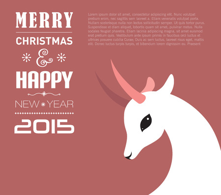 year of sheep: Merry Christmas and Happy new year card for 2015 year of Goat and Sheep