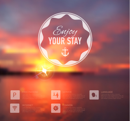 Vector web and mobile interface template. Travel and hotel corporate website design. Minimalistic backdrop. Vector. Editable. Blurred. Circle badge label, sunset background. Options, Icon, typography