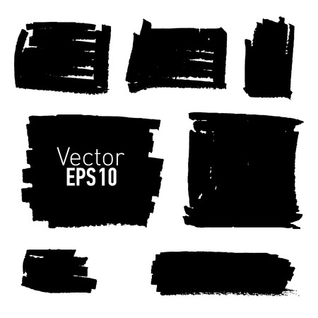 correctly: Set of hand drawn paint stains, every stain is correctly grouped. Vector illustration.