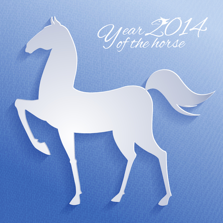 the year of the horse: Paper horse. New year card. Vector illustration