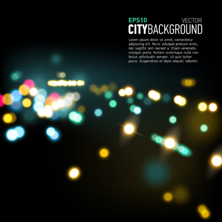 city lights: Abstract city background with realistic bokeh lights. Vector illustration