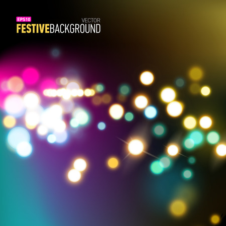 blurred vision: Abstract city background with realistic bokeh lights. Vector illustration