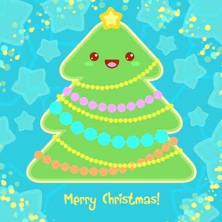 christmas plant: Merry Christmas Card with Christmas Tree style