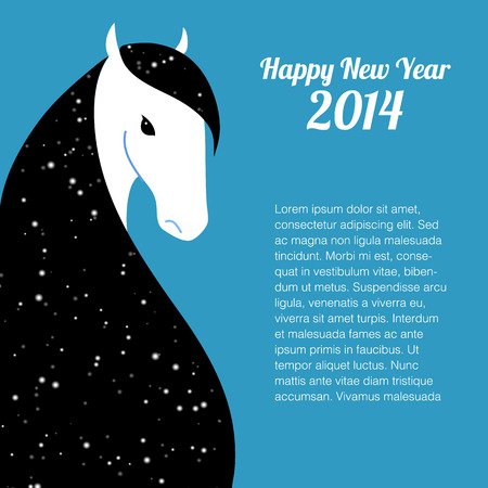 the year of the horse: Happy new year card for 2014 year of Horse Illustration