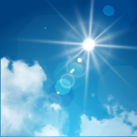 sun flare: Realistic sun flare with clouds on blue sky. Vector illustration.