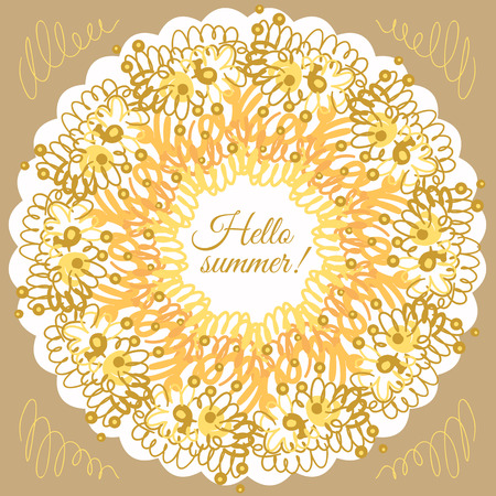 Hello summer typographic poster. Creative frame. Design for summer sales, banners, advertisment. Vector illustration Illustration