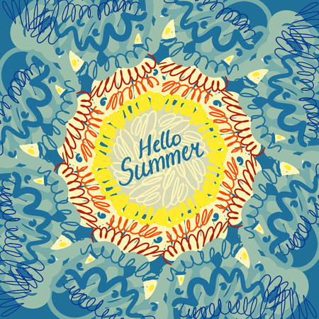 advertisment: Hello summer typographic poster. Creative frame. Design for summer sales, banners, advertisment. Vector illustration Illustration
