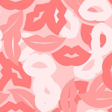 smooch: Seamless background with lips prints. Vector illustration