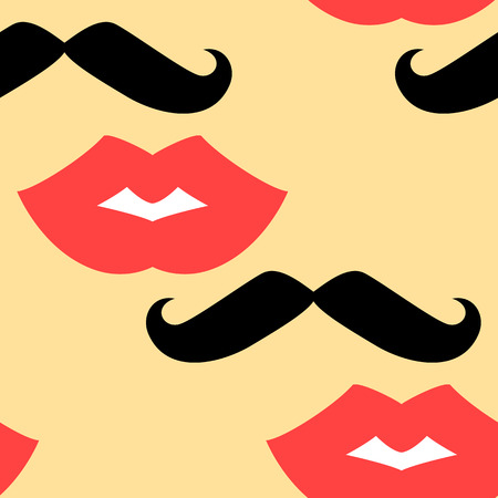 smooch: Seamless background with lips and mustache. Vector illustration
