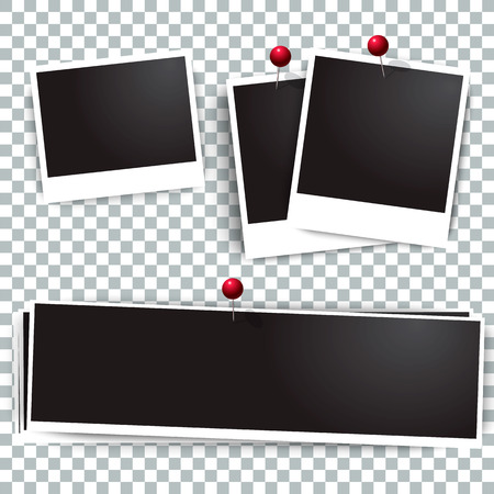 Photo polaroid frames on wall attached with pins. Photo frame and collection of retro photo picture. Vector illustration set. Transparent background. Illustration