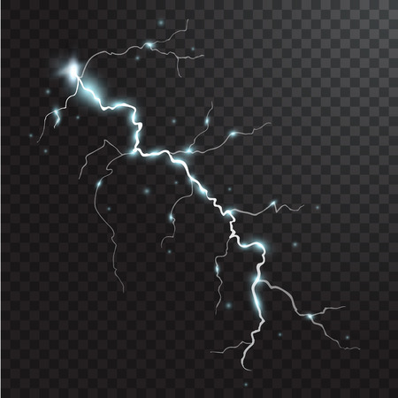 Thunderstorm realistic elements with colored flashes of lightnings sparks on black half transparent background
