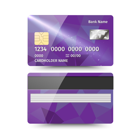 plastik: Realistic detailed credit card with abstract geometric purple design isolated on white background. Illustration