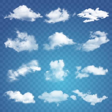 Vector ilustration of Set of transparent different clouds.