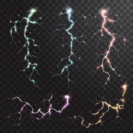 Thunderstorm realistic elements with colored flashes of lightnings sparks on black half transparent background Vektorové ilustrace