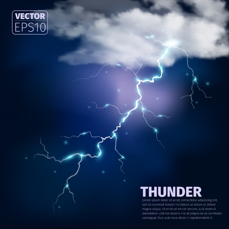 Realistic thunderstorm background with clouds. Vector illustration.