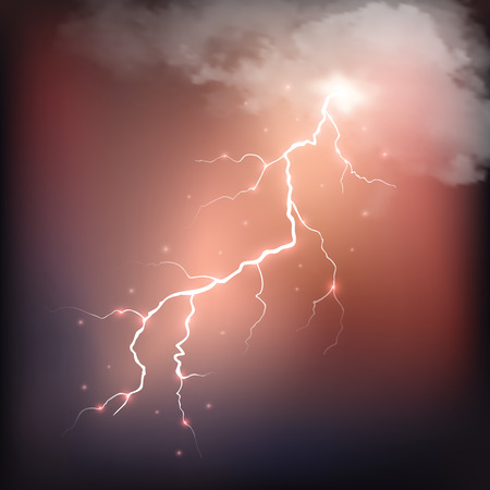 dazzle: Realistic thunderstorm background with clouds. Vector illustration.