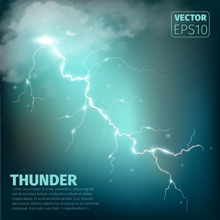 the dazzle: Realistic thunderstorm background with clouds. Vector illustration.