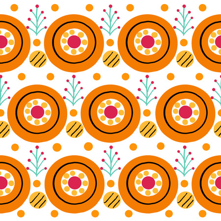 Seamless stripe pattern with cock in Russian Dymkovo style. Illustration