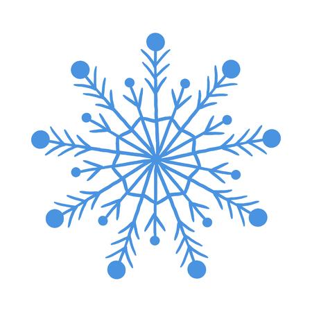 Blue vector snowflake. Ornament Winter. White background