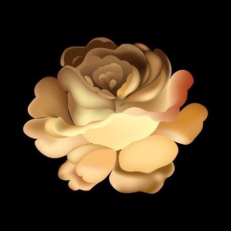 Elemento de flor sobre fondo negro. Lindo diseño retro en colores brillantes para pegatinas, etiquetas, etiquetas, papel de regalo.