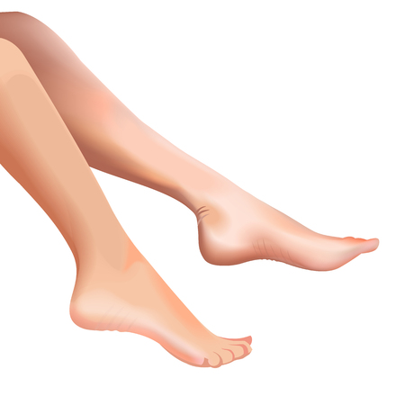Female feet isolated on white background realistic vector illustration