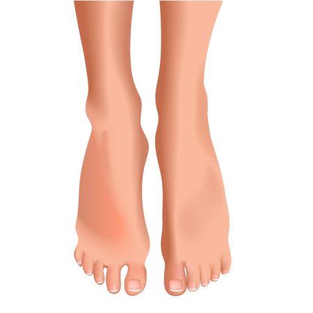 toenail: Female feet isolated on white background realistic vector illustration