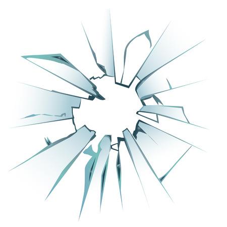 誤って壊れた窓からすを擦ってやフロントドア ガラス現実的な装飾的な暗い背景のアイコン ベクトル図