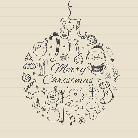 Vector illustration of Merry Christmas post card template. Illustration