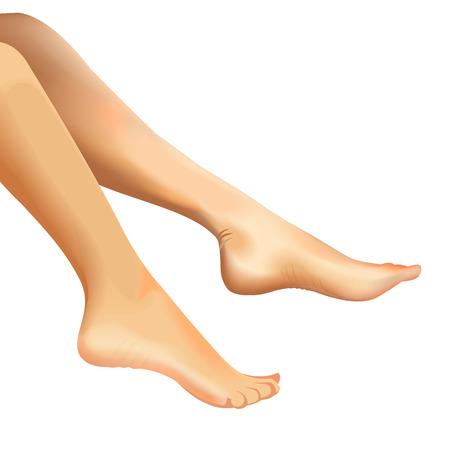Vrouwelijke voeten op een witte achtergrond realistische vector illustratie Stock Illustratie