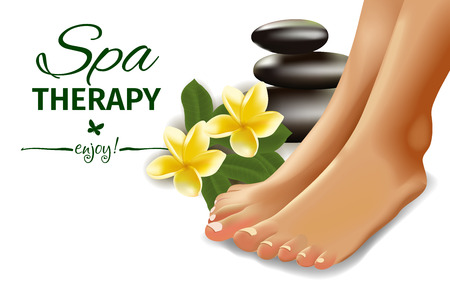 french ethnicity: Vector illustration of SPA concept with realistic female feet, frangipani and stones. Illustration