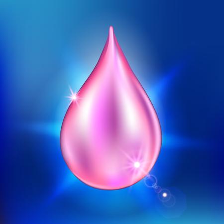 anti age: Vector illustration of supreme collagen oil drop essence. Premium shining serum droplet.