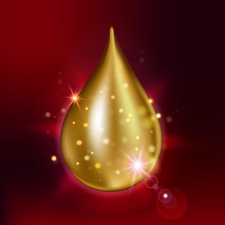 Vector illustration of supreme collagen oil drop essence. Premium shining serum droplet.