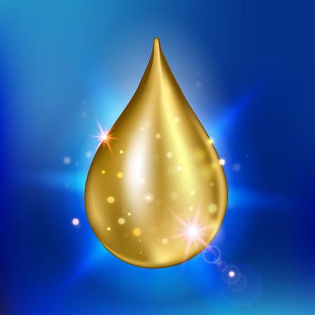 Illustrazione vettoriale di suprema collagene essenza goccia di olio. Premium brillante goccioline siero.