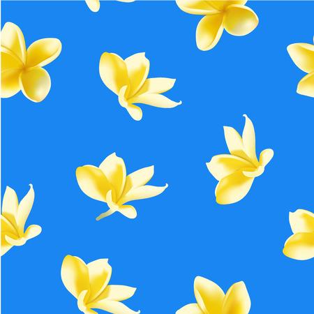 frangipani flower: Seamless pattern with frangipani flower. Vector illustration